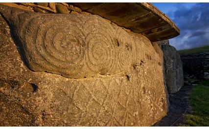 Decorated stone at Newgrange, Brú na Bóinne